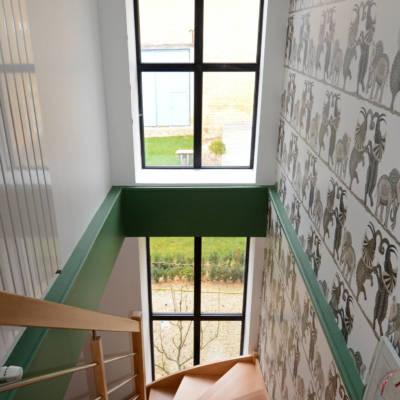 cage d'escalier Christel Dubois décoratrice Reims